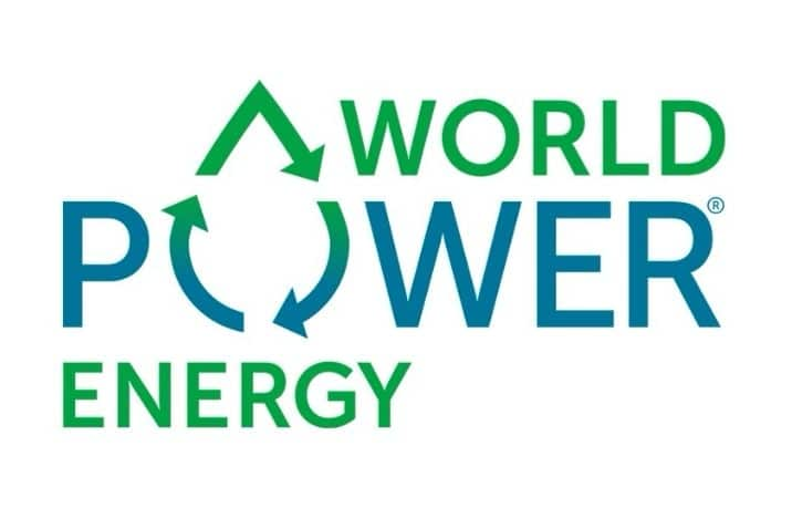 world power energy logo blå og grønn skrift